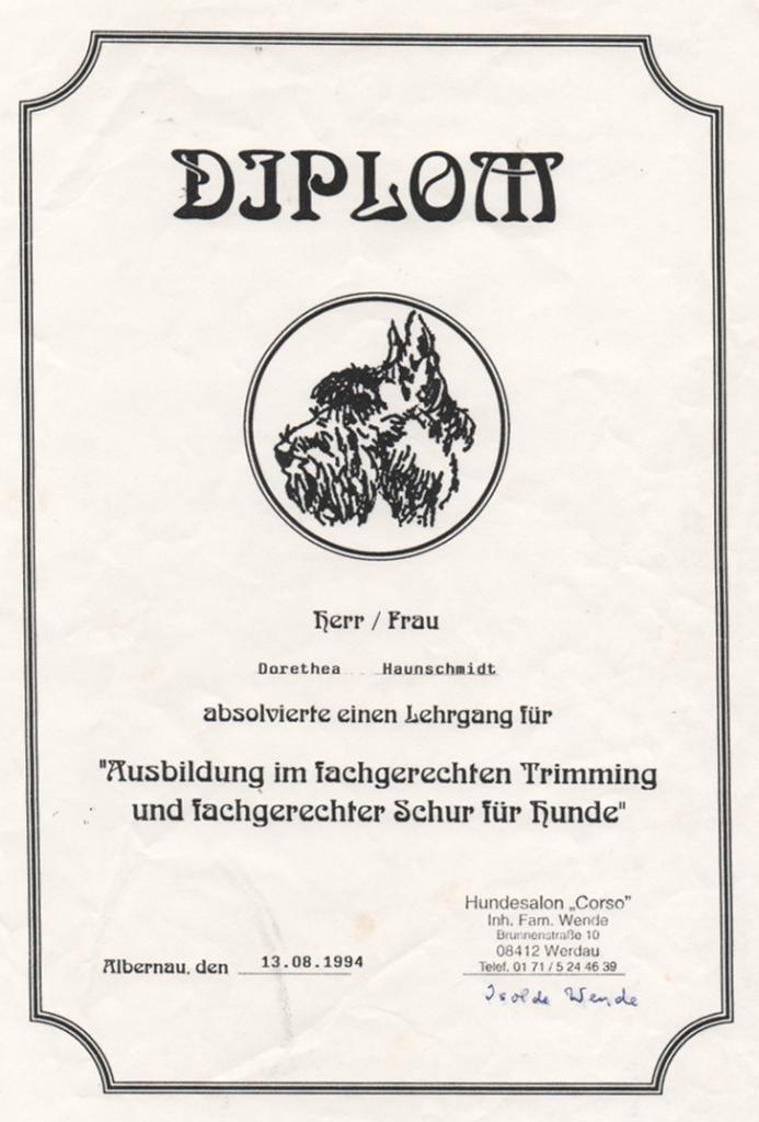 Diplom Hundeschur- und Trimming