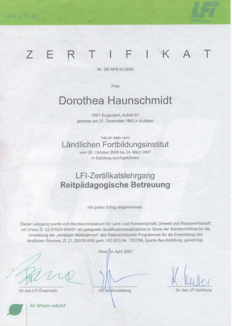 Zertifikat Reitpäadagogische Betreuung